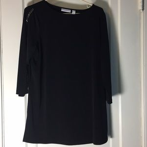 Susan Graver Black Cold Shoulder Top M